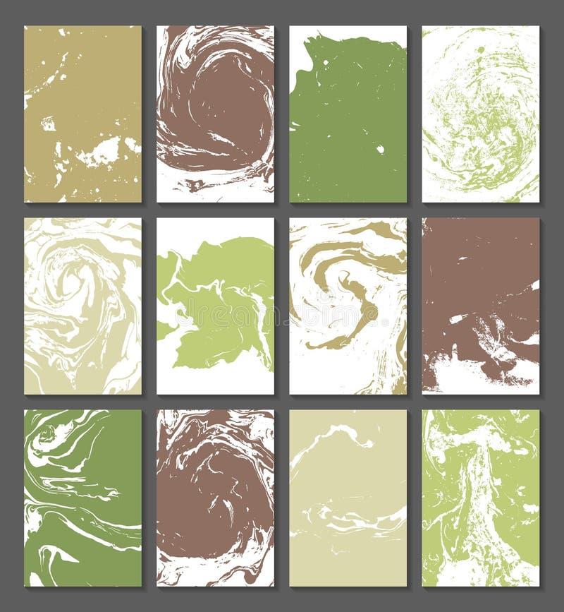E Insieme delle carte con struttura, l'effetto di inchiostro sull'acqua Colori verdi e marroni Ab illustrazione vettoriale