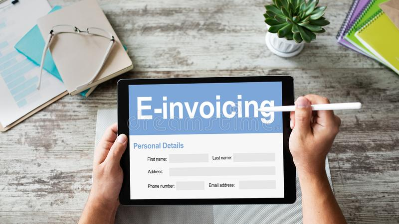 E-invoicing, Online banking and payment. TEchnology and business concept. stock photos