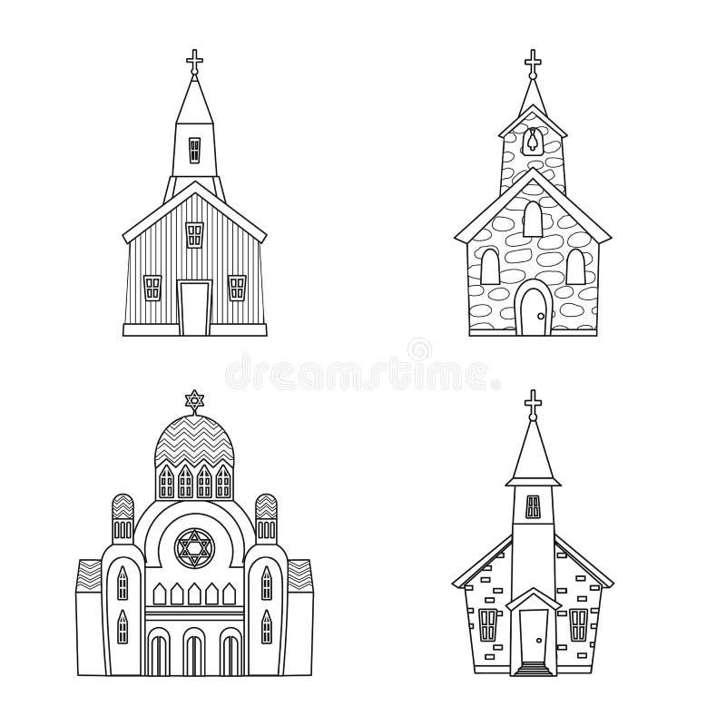 E Inzameling van architectuur en tempel vectorpictogram voor voorraad vector illustratie