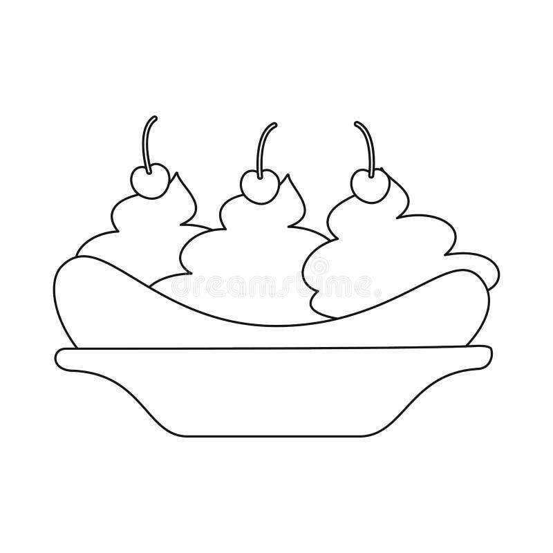 E Inzameling van banaan en gepeld vectorpictogram voor voorraad stock illustratie