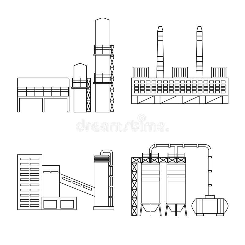 E Inzameling van productie en structuur vectorpictogram voor voorraad stock illustratie