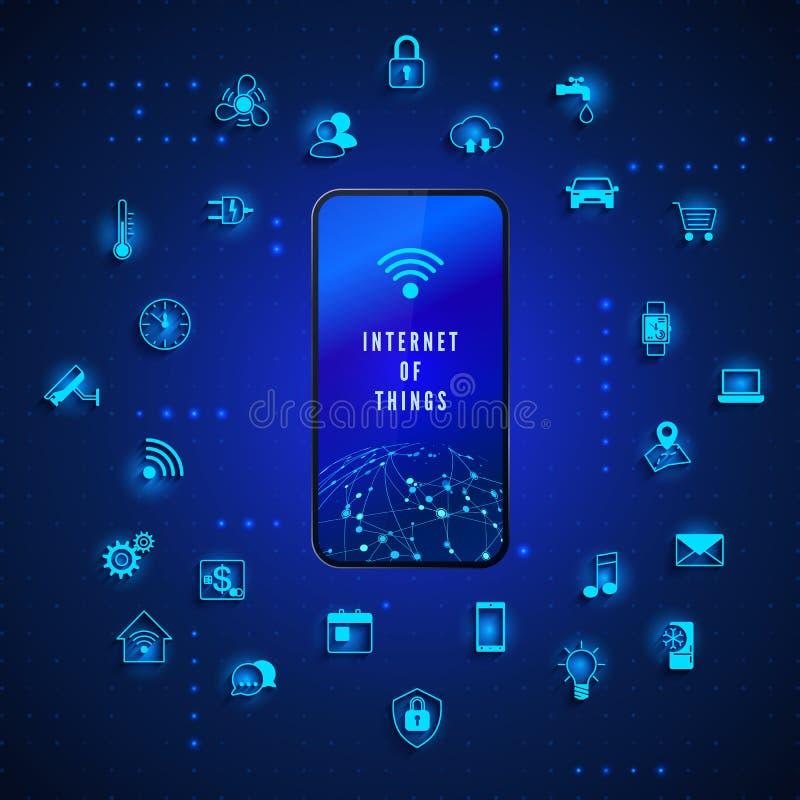 E IOT-begrepp Kontroll och övervakning för internet för teknologi för globalt nätverk Symboler för apparat för systemautomation vektor illustrationer
