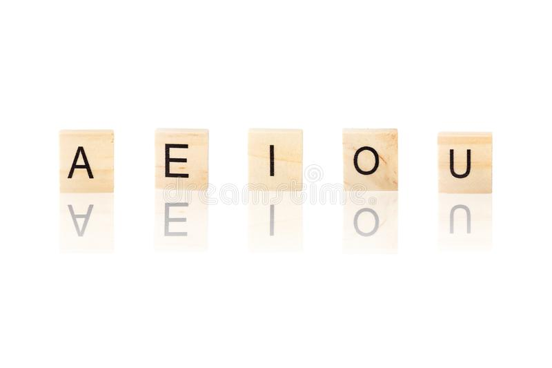 E Ja O U, samogłoski słowo royalty ilustracja
