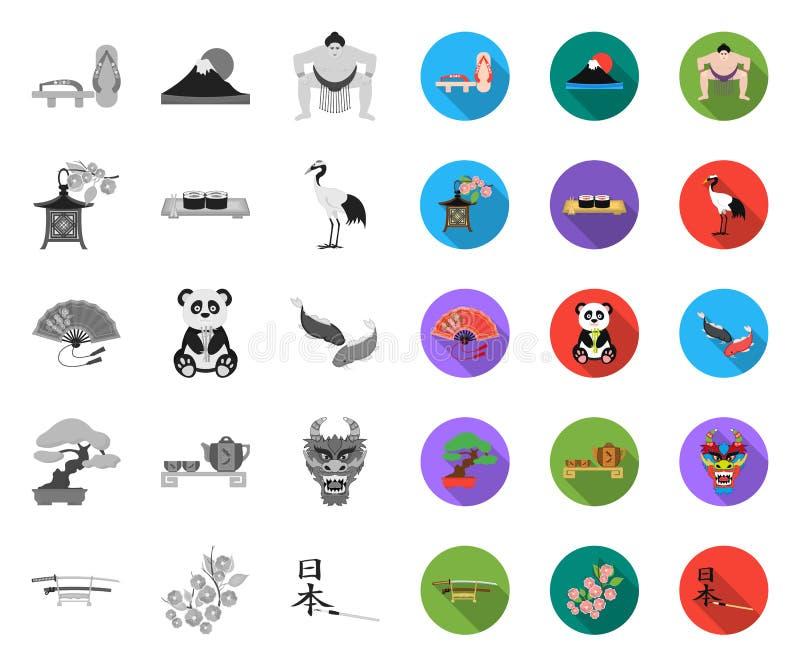 E Japan und Markstein vector Netzillustration des Symbols auf Lager lizenzfreie abbildung