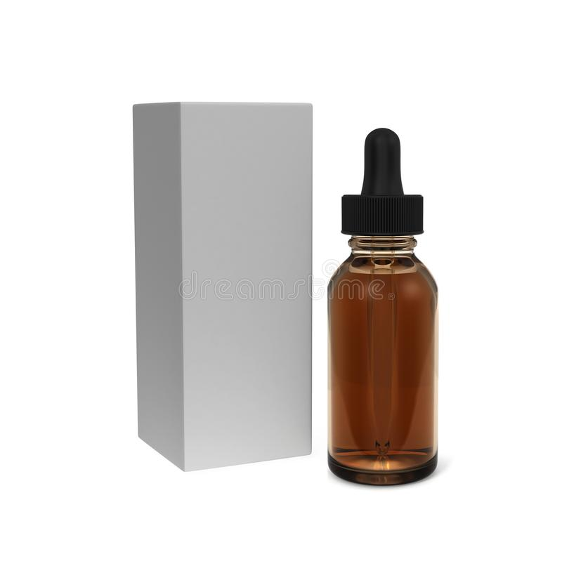 E juice and beard oil dropper bottle with box mock up 3d rendering isolated on white background. vector illustration