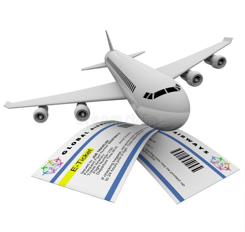 E-kaartjes en Vliegtuig vector illustratie