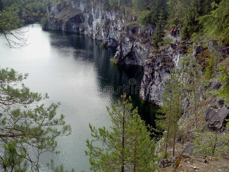 E Karelia Парк горы Ruskeala бывший мраморный карьер заполненный с грунтовыми водами стоковая фотография rf