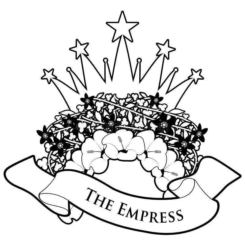 E Kejsarinnan Blommakrans som krönas med stjärnor och textbanret som isoleras på vit bakgrund vektor illustrationer