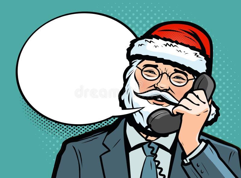 E Kerstmistak en klokken Pop-art retro grappige stijl De vectorillustratie van het beeldverhaal vector illustratie