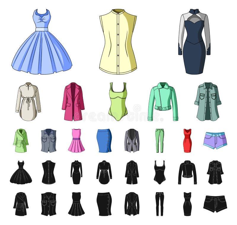 E Kleidungs-Vielzahl- und Zubehörvektorsymbol lizenzfreie abbildung