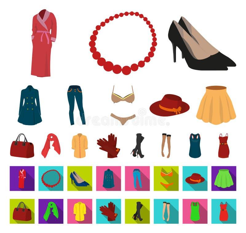 E Kleidungs-Vielzahl- und Zubehörvektorsymbolvorrat stock abbildung