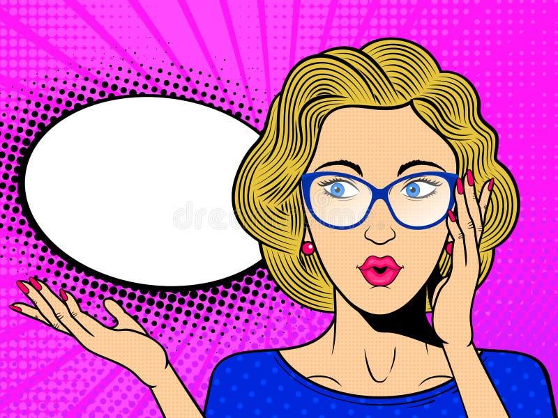 E Komisk blond kvinna i exponeringsglas med anf?randebubblan stock illustrationer