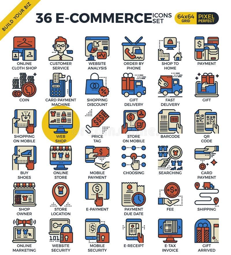 E-kommers affärssymboler royaltyfri illustrationer
