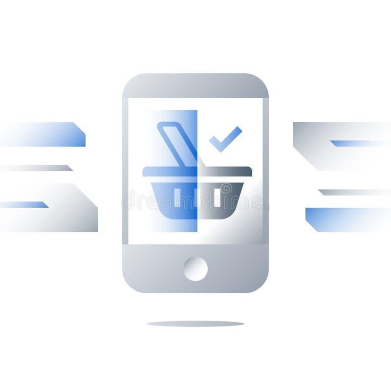 E-kommers begrepp, livsmedelsbutikkorgsymbol på mobiltelefonskärmen, online-matshopping och beställningsleverans, smartphoneapp-b royaltyfri illustrationer