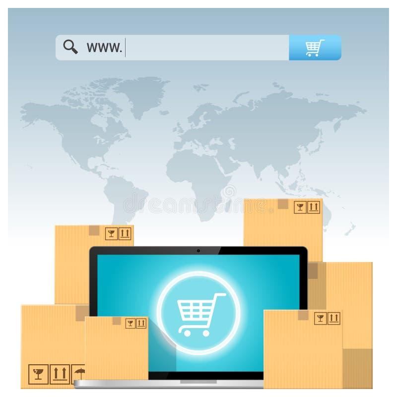 E-kommers begrepp med adressstången ovanför kartonger och datorbärbara datorn stock illustrationer