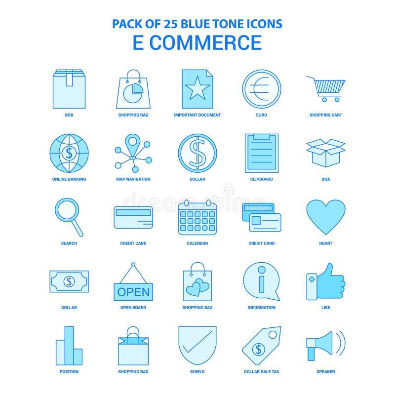 E-kommers blått Tone Icon Pack - 25 symbolsuppsättningar stock illustrationer