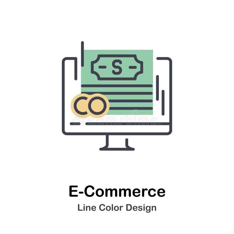 E-kommers direkt färgsymbol vektor illustrationer