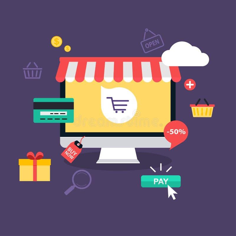 E-kommers elektronisk affär, online-shopping stock illustrationer