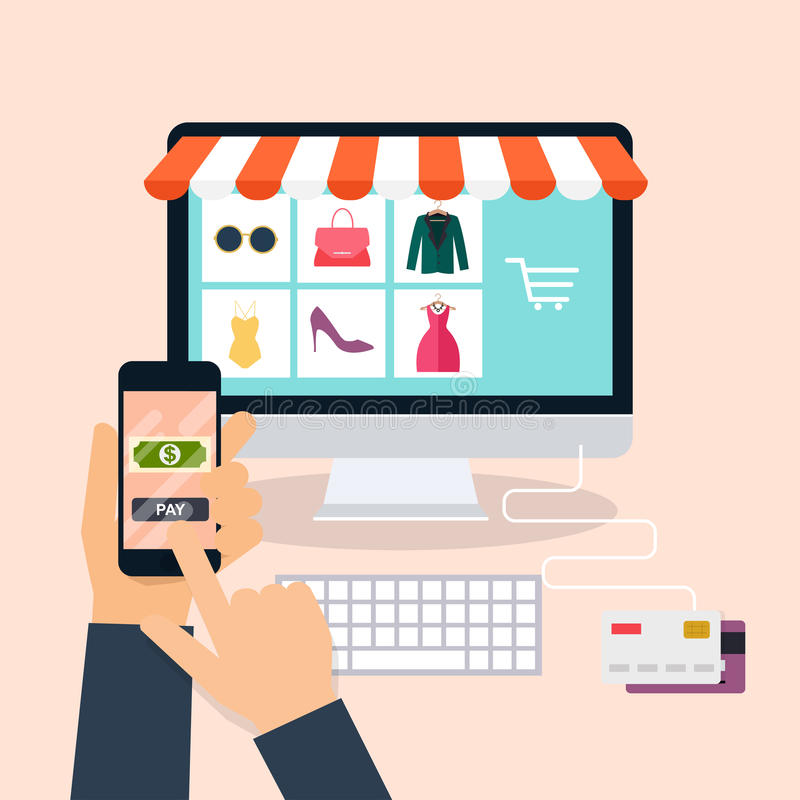 E-kommers elektronisk affär, online-shopping, betalning, deliv royaltyfri illustrationer