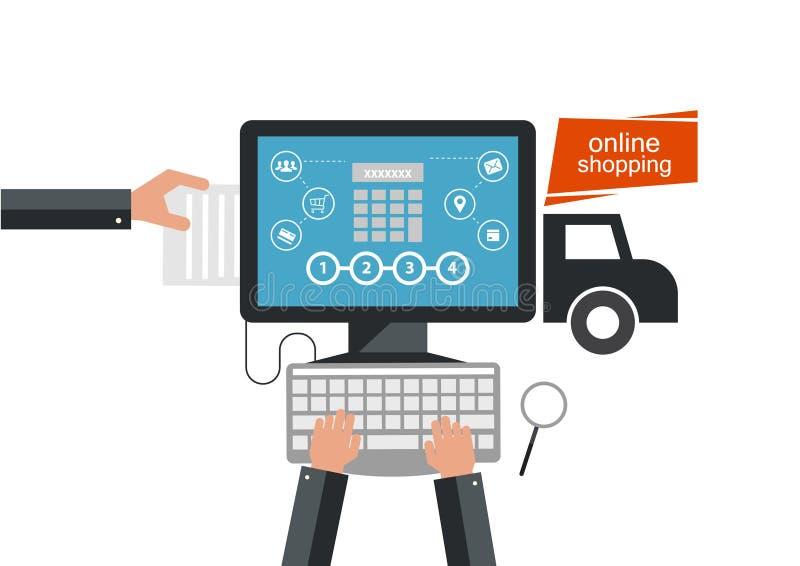 E-kommers elektronisk affär, online-shopping, betalning, leverans, sändningsprocess, försäljningar royaltyfri illustrationer