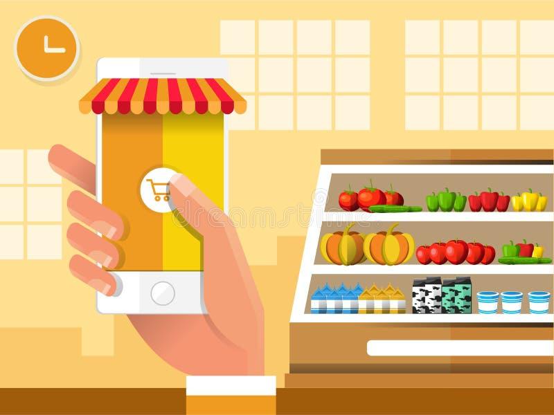 E-kommers elektronisk affär, online-shopping, betalning, leverans, sändningsprocess, försäljningar i livsmedelsbutik stock illustrationer