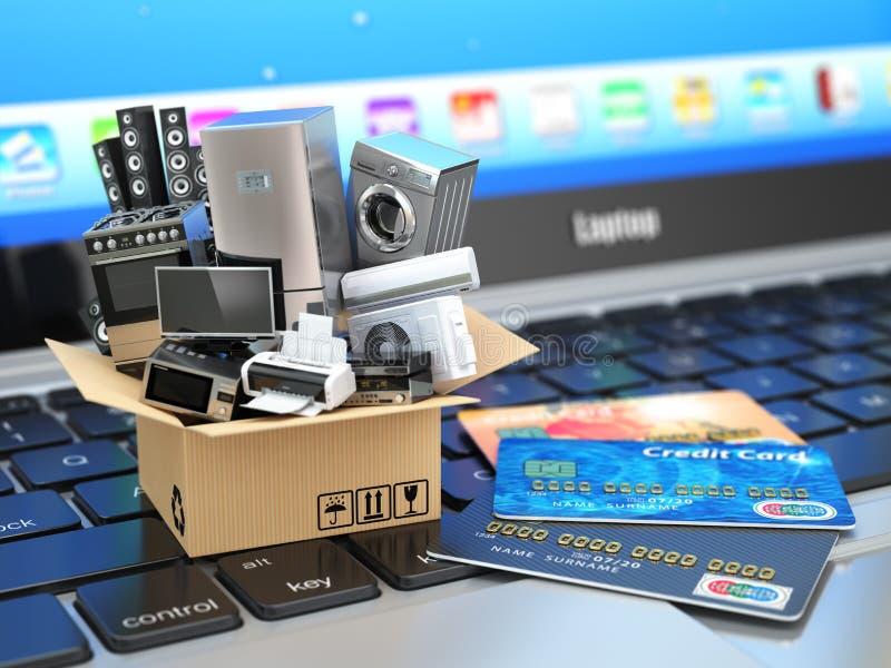 E-kommers eller online-shopping- eller leveransbegrepp vektor illustrationer