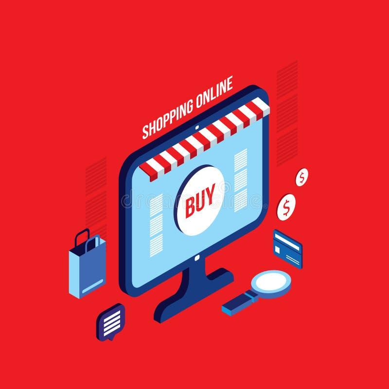E-kommers för affär för plan isometrisk shopping för design 3d online-lyckat begrepp vektor illustrationer