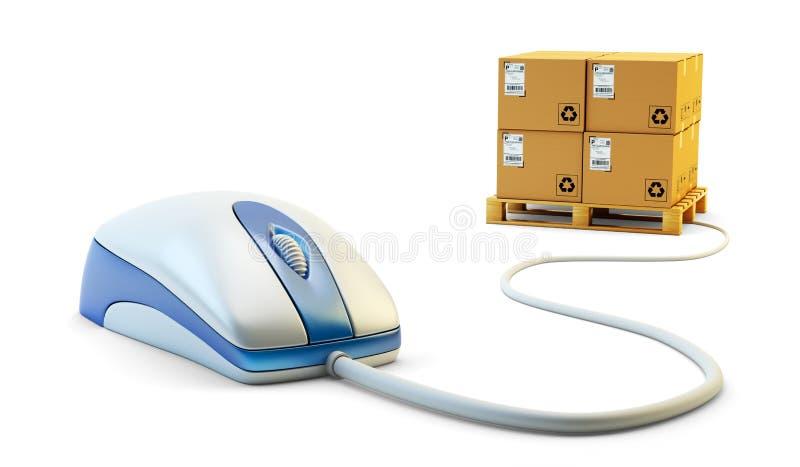 E-kommers, internetshopping, enkla för klick köp direktanslutet och packeleveransbegrepp royaltyfri illustrationer
