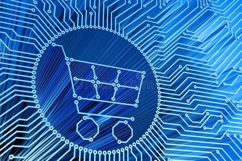 E-kommers, internetshopping, online-köp, datateknik och elektroniskt begrepp vektor illustrationer