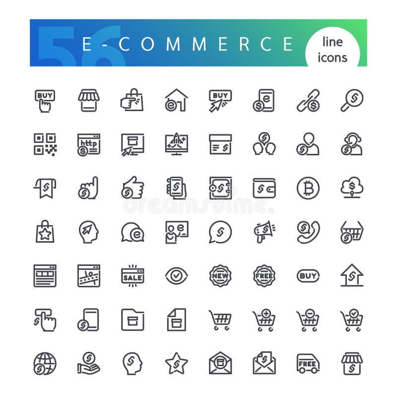 E-kommers linje symbolsuppsättning stock illustrationer