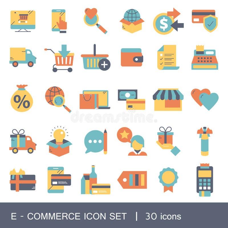 E-kommers och shoppa symbolssamlingen Plan vektorillustration royaltyfri illustrationer