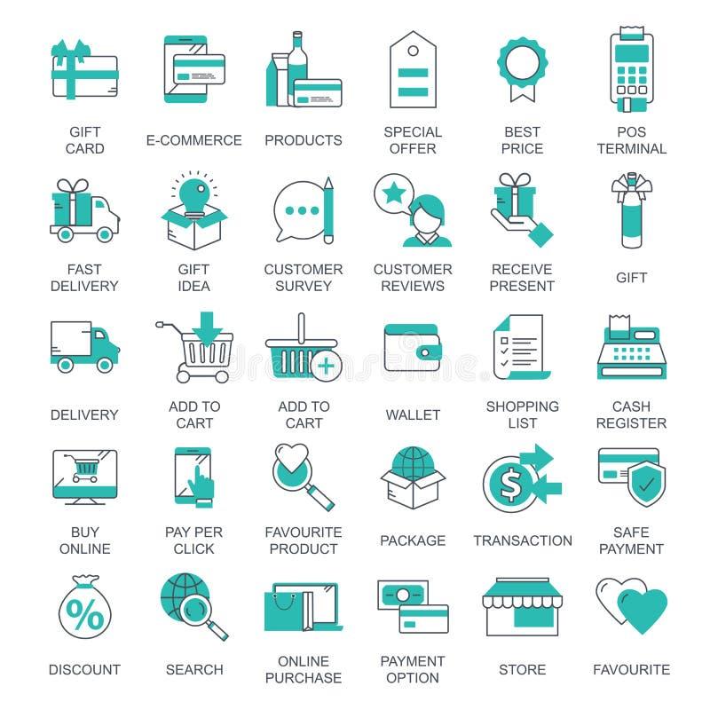 E-kommers och shoppa symbolssamlingen Plan vektorillustration stock illustrationer