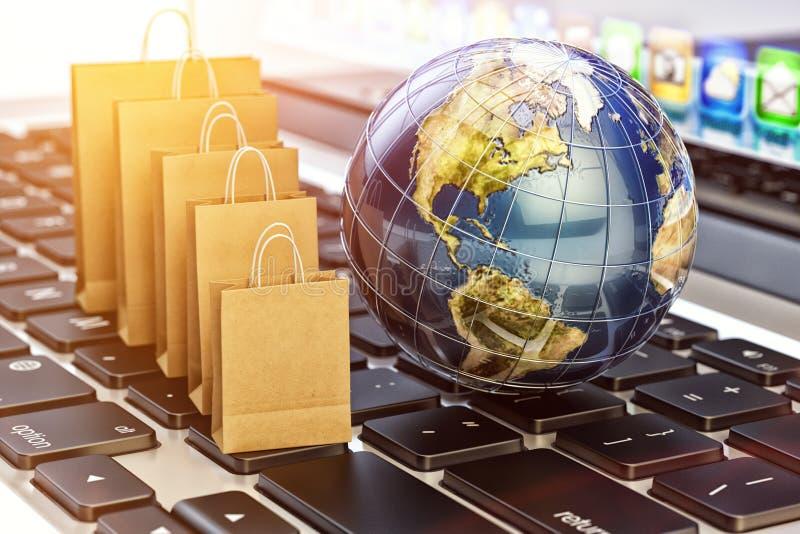 E-kommers, online-köp och internetshoppingbegrepp arkivbilder