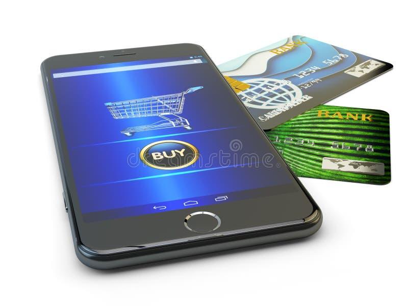 E-kommers, online-köp och mobilt internetshoppingbegrepp royaltyfri illustrationer