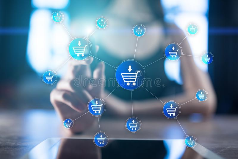 E-kommers online-shopping, internetaffärsidé på den faktiska skärmen royaltyfri illustrationer