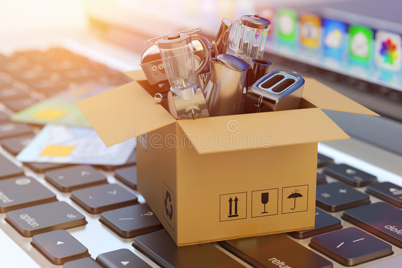 E-kommers, online-shopping, internetköp och godsleveransbegrepp royaltyfri foto