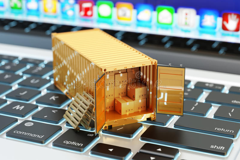 E-kommers, packeleverans, sändningsservice och frakttrans.begrepp royaltyfri illustrationer