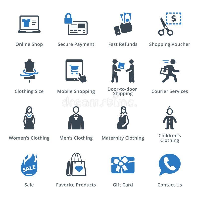 E-kommers symbolsuppsättning 1 - blå serie stock illustrationer