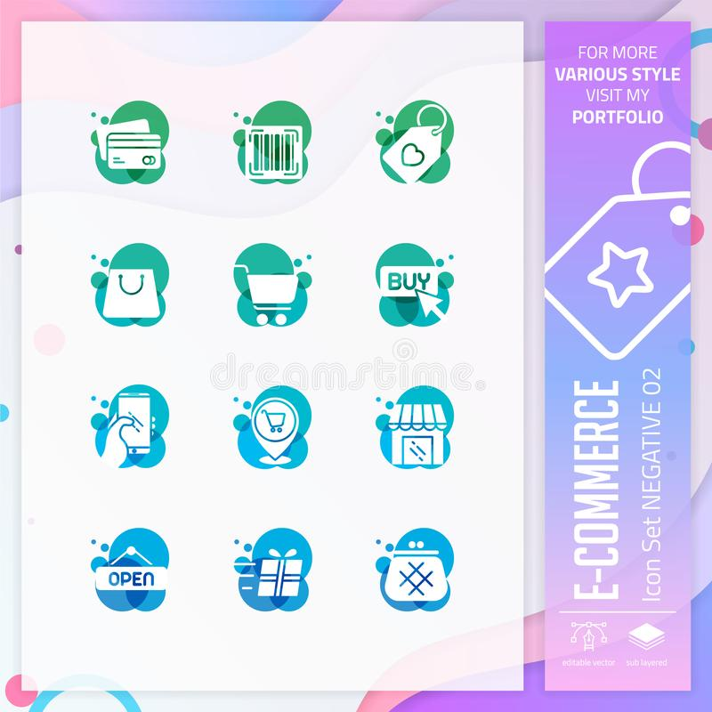 E-kommers symbolsuppsättning på negativ stil för att shoppa symbol Online-marknadssymbolspacken kan använda för website, app, UI  royaltyfri illustrationer