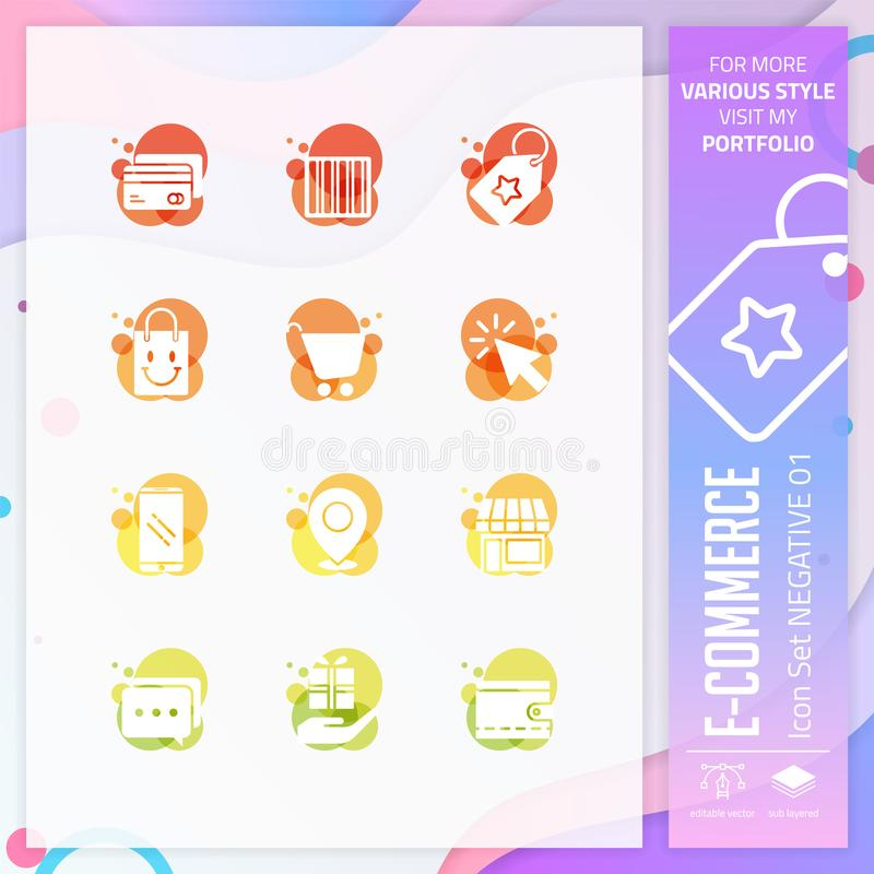 E-kommers symbolsuppsättning på negativ stil för att shoppa symbol Online-marknadssymbolspacken kan använda för websiten, appen,  royaltyfri illustrationer