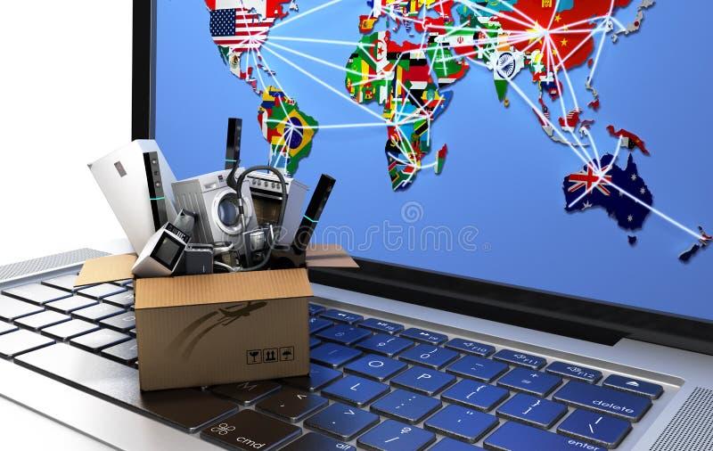 E-komrets eller för online-shoppingbegreppet framför den hem- anordningen i ask på bärbar datortangentbordet 3d bild stock illustrationer