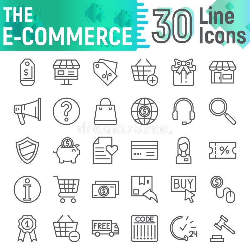 E-komrets linjen symbolsuppsättningen som shoppar symboler samling, vektorn skissar, logoillustrationer, linjära pictograms för k vektor illustrationer