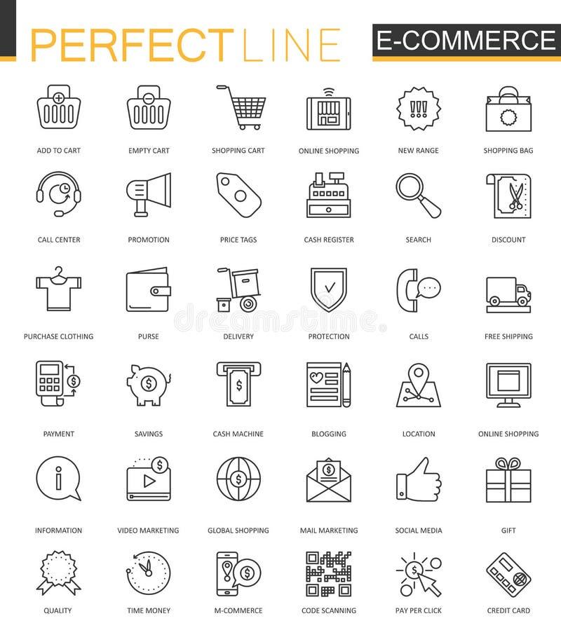 E-komrets och att shoppa den tunna linjen rengöringsduksymboler ställde in Översiktssymbolsdesign vektor illustrationer