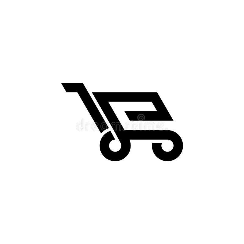 E-komrets shoppar logo royaltyfri illustrationer