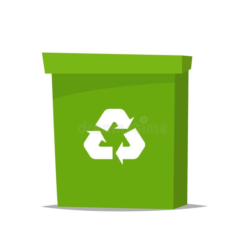 E Kosz na śmieci w kreskówka stylu może przetworzone śmieci również zwrócić corel ilustracji wektora ilustracji