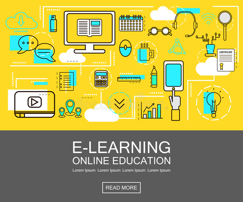 E-lära banerbegrepp utbildning online Gör linjen symboler tunnare också vektor för coreldrawillustration För rengöringsduk nätver royaltyfri illustrationer
