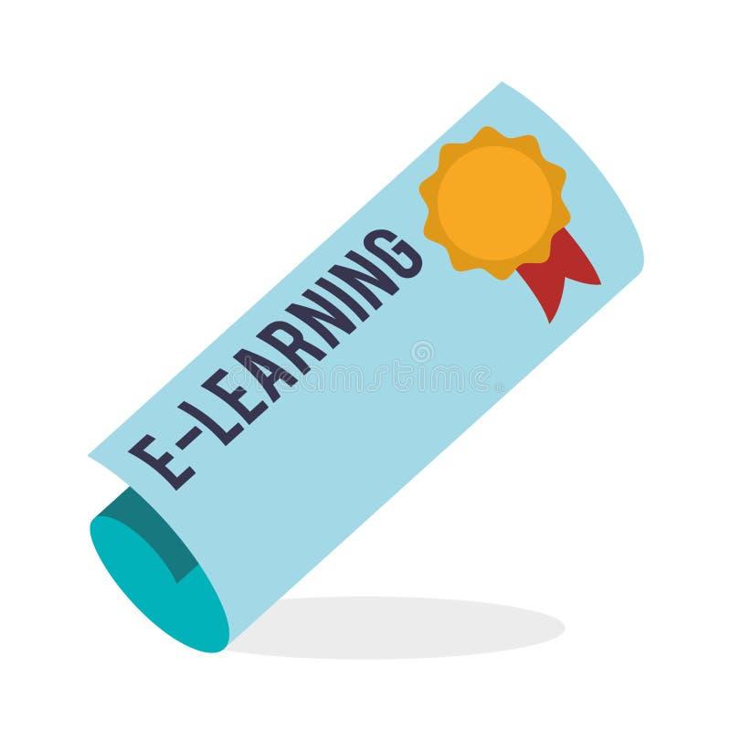 E-lära design Utbildningssymbol online-begrepp, vektorillustration vektor illustrationer