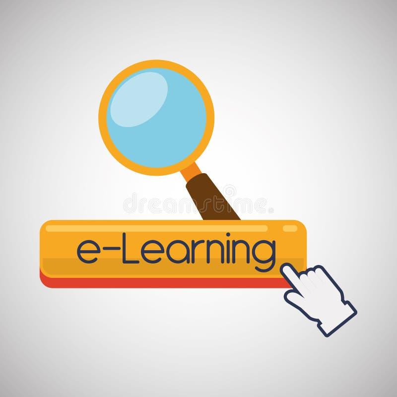 E-lära design Utbildningssymbol online-begrepp, vektorillustration royaltyfri illustrationer