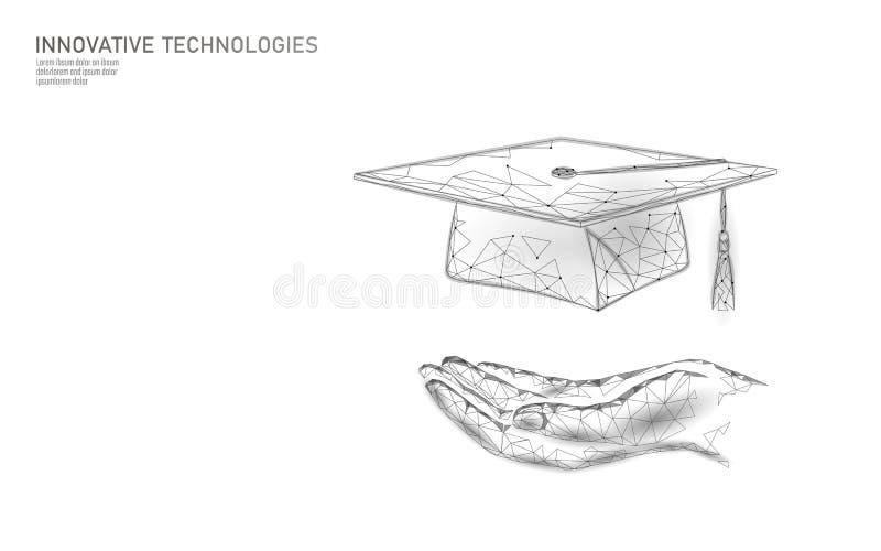 E-lära för certifikatprogram för avstånd doktorand- begrepp Låg poly 3D att framföra avläggande av examenlocket på planetjordvärl vektor illustrationer