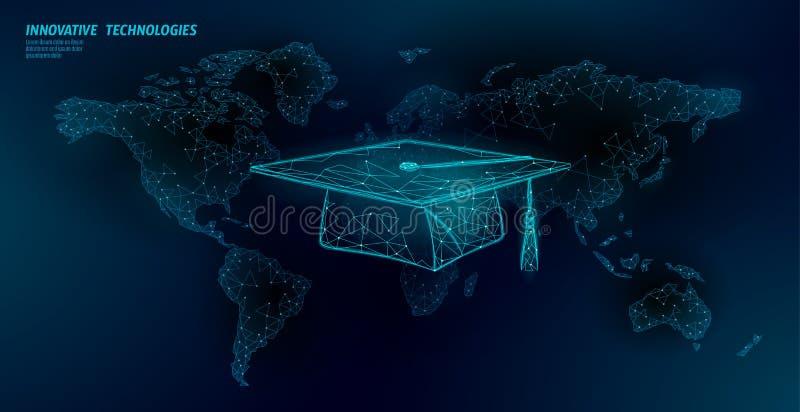 E-lära för certifikatprogram för avstånd doktorand- begrepp Låg poly 3D att framföra avläggande av examenlocket på modern design  vektor illustrationer